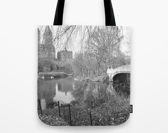 New York Tote Bag, Central Park Tote Bag, Bow Bridge, Black & White Tote Bag, Photo Tote Bag, Gift, Shopping Tote, Book Tote, Market Tote