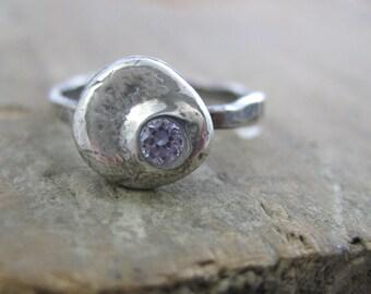 Diamond Pebble // Fine Silver // Recycled Silver // Eco Friendly // Diamond Alternative // Custom Size