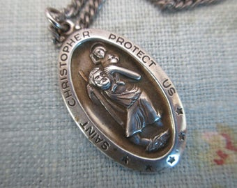 "vintage sterling St. Christopher necklace- medal, religious, Theda, 27"" chain"
