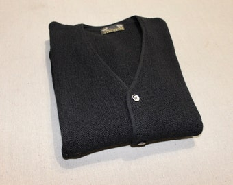 vintage 60's - 70's -Sears / The Men's Store- Men's cardigan sweater. Black - 50/50 Alpaca - Wool. Fancy buttons. Possibly 'NeW'. Med - Lrg