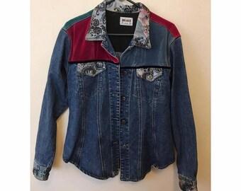 Amazing 90s Vintage Velour and Silk Applique Detailed Denim Jacket