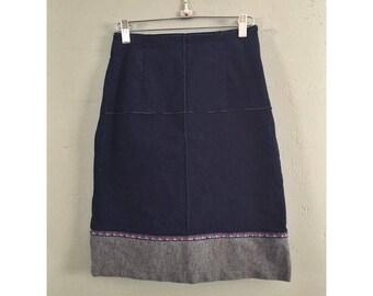 "90's Denim Material High Waisted Skirt, Women's 25"""