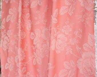 Pink Coral English Cabbage Rose Damask Vintage Fabric