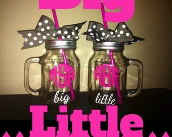 Personalized Big Little Mason Jars - Big Sis - Little Sis - Sorority - College - Cheerleading - Dance