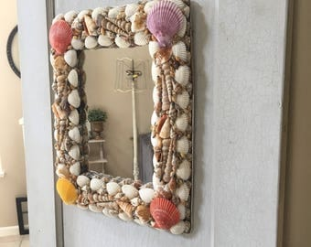 Vintage Sea Shell Covered Folk Art Beach Coastal Mirror