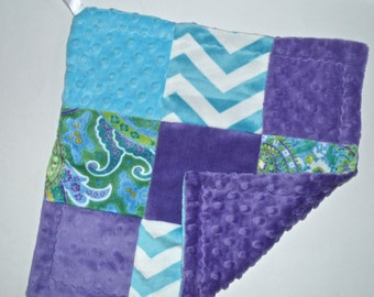 """On Sale, Sample - Minky Baby Lovey Blanket 14"""" - Patchwork Purple and Turquoise, Teal, Baby Blanket Lovie, Woobie Ready to Ship Newborn"""