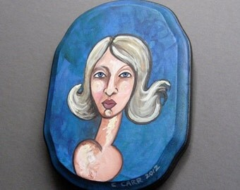 50% Off Sale Original Painting - Portrait of a Women with Blond Hair - Small Painting on Wood - Ready To Hang