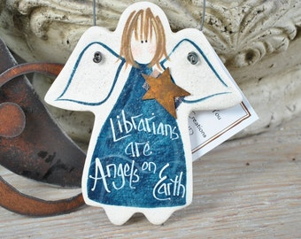 Librarian Gift Ornament Xmas Birthday Salt Dough Angel
