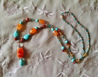 Fire agate turquoise pendant necklace, fire agate, turquoise, silver, jasper artisan beaded necklace