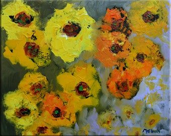 "Original Oil Painting Large Abstract Painting 16"" x 20 ""Sunflowers II""  by Claire McElveen Colorful Textural Impasto Floral Art Signed COA"