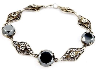 Art Nouveau Sterling Silver & Hematite Flower Openwork Link Tennis Bracelet c.1920