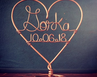 Wedding Cake Topper Custom Wire Heart featuring Last Name and Date