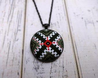 Fabric Pendant Necklace, Fabric Necklace, Pendant Necklace, Fabric Jewelry, Boho Necklace, Large Pendant, Black Necklace, Geo Origin