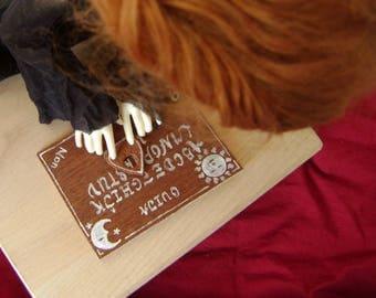 Plache ouija miniature en bois véritable - pour petites BJDS et autre petites poupées