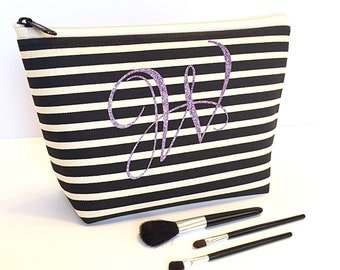 Monogram Cosmetic Bag ,  Black Creme Stripe , Lavender Glitter , Bridesmaid Maid of Honor Gift , Personalized Travel Accessory , Birthday