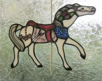 Stained Glass Carousel Figure PTC Rose   06