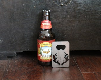 FREE SHIPPING Metal Bottle Opener with Antlers Credit Card Size