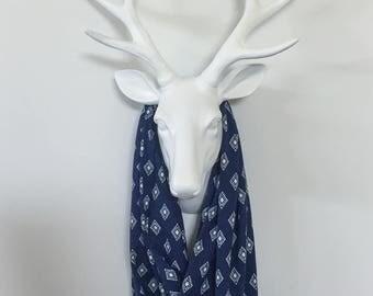 Infinity Scarf - Navy Ethnic Diamonds - Cotton Jersey Blend Knit