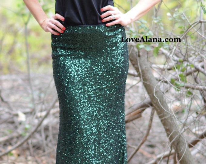 SALE til 11/23 Forest Green Maxi Sequin Skirt - Gorgeous high quality sequins (S,M,L,XL)