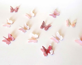 Butterfly Confetti, Garden Party Decor, Spring Wedding Accent, Bridal Shower, Pink Baby Shower Decor, 3D Paper Butterflies, Pretty in Pink