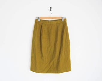 Vintage 70s Skirt. Mustard Yellow Green Wool Skirt. Pencil Skirt. Lined. High Waist Skirt.