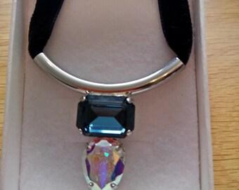 Blue and Clear Swarovski Crystal Choker