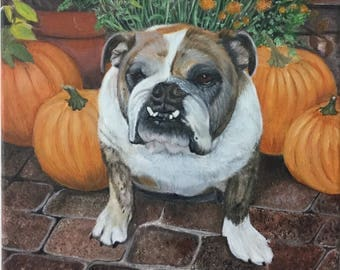 English bulldog painting custom pet portrait from photo on canvas great dog art gift