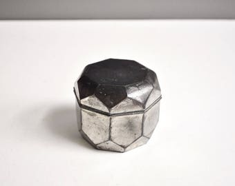 Vintage Geometric Metal Trinket Box