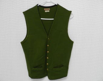 vintage 40s 50s Wool Sweater Vest button front olive green oktoberfest made in Austria Frederick & Nelson S/M