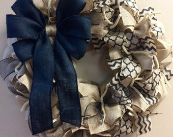 Wreath it! Burlap Wreath Wall Hanging Black Tan - Made with our Patent Pending Wreath it! Base