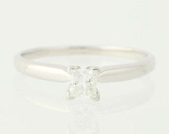 Princess Cut Diamond Engagement Ring - 14k White Gold Solitaire .32ct Unique Engagement Ring N2982