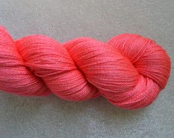2 ply yarn, lace weight, silk superwash merino  870 yards 100g for knitting crochet, coral, handdyed