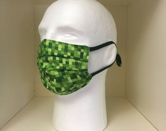 Washable Medical Face Masks Adult & Child Minecraft Green Pixel and Bitmap Print
