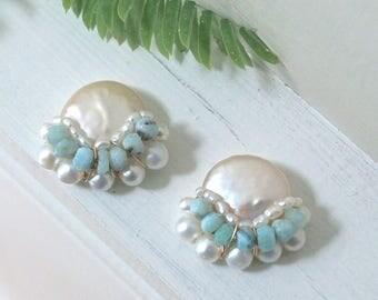 Large freshwater pearl cluster stud earrings - pearl bijoux
