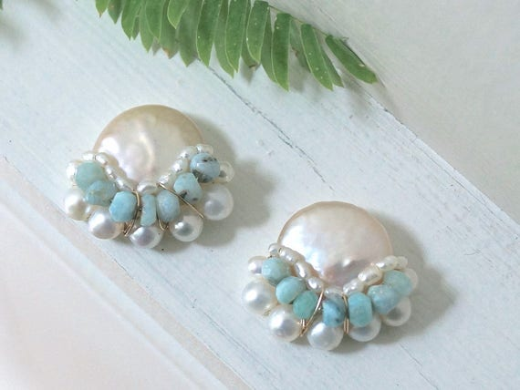 Large freshwater pearl cluster stud earrings - pearl bijoux