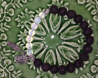 Opalite and Lava Rock bracelet