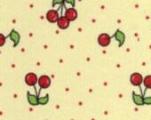 Red Cherries on Yellow  Corduroy Finewale Featherwale Babywale 21 wale 1 yard