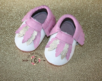 SALE WOW! Gypsy Purplish/Pink  100% genuine leather baby moccasins Mocs moccs top quality, first birthday,