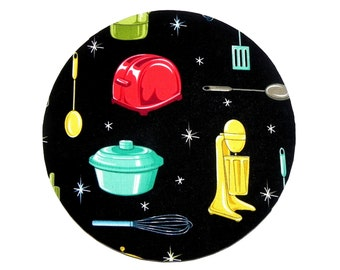 Mouse Pad - Round Fabric mousepad - Retro Kitchen Utensils - Hot pad