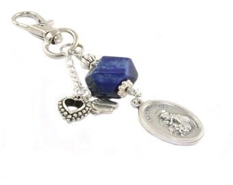 St Francis & St Anthony Medal Clip, Catholic Saints - Bon Voyage - Mothers Day - Inspirational Keychain Bag Dangle Gift