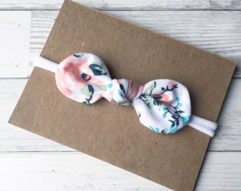 Floral {LUCY} Knotted Headband - Nylon Headband - One Size Fits All