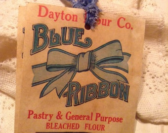 Off To Market Farmers Market Tags with  Blue French Country Floral Hand Tattered Ribbon Set of 3