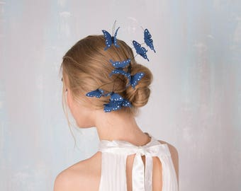 Blue Butterfly Comb Wholesale Hair Decor Accessory Decoration Decorative Butterflies Hair Piece Headpiece Bridal Wedding Birthday Prom Hair