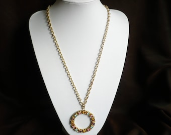 """Vintage Sarah Coventry Rhinestone Pendant Necklace Piccadilly Circle 1974 Cov 26"""" Long"""