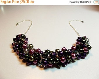 30% OFF SALE thru 2-28 Green Burgundy Wine Purple Pearl and Crystal Cluster Necklace, Mothers Day, Mom Sister Bridesmaid Jewelry Gift, Chris