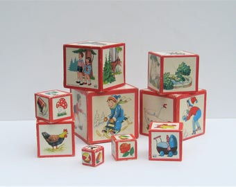 Vintage German Nesting Blocks: Nursery Decor, German Picture Blocks, Complete Set