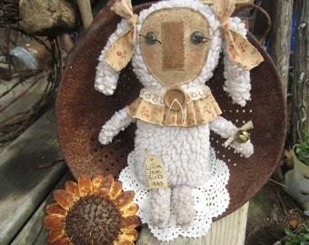 SHEEP RAG DOLL~ Sheep~ Primitive Decor~ Made To Order~ Shelf Sitter~ Easter~ Farmhouse~ New Mother~ Fabric Sheep~ Upcycled~ thebagglady76~