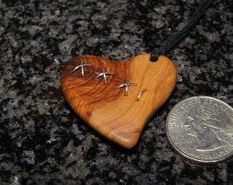 Olive Wood Heart, wood jewelry,Heart