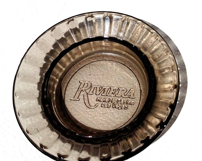 Vintage Riviera Hotel Ashtray in Smoke Colored Glass