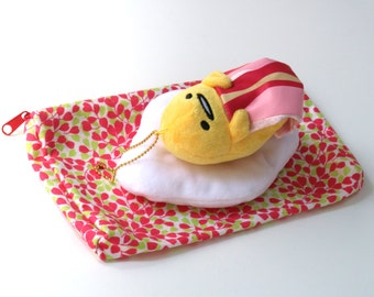 Plush Gudetama and Floral Pouch - accessories set of 2